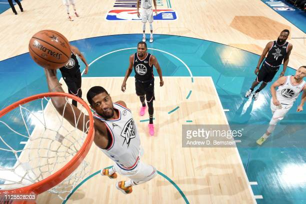 Paul George of Team Giannis dunks the ball against Team LeBron during the 2019 NBA AllStar Game on February 17 2019 at the Spectrum Center in...