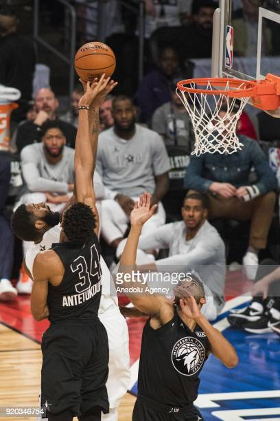 Paul George of Team Lebron and Giannis Antetokounmpo of Team Stephen vie for a rebound in the third quarter during the 2018 NBA AllStar Game at the...