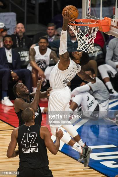 Paul George of Team Lebron goes for the layup in the fourth quarter during the 2018 NBA AllStar Game at the Staples Center in Los Angeles California...
