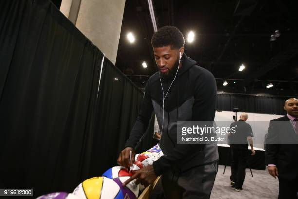 Paul George of Team LeBron signs autographs prior to the NBA AllStar practice as part of the 2018 NBA AllStar Weekend on February 17 2018 at the...