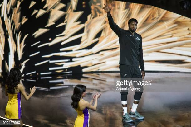 Paul George of Team Lebron takes the stage during introductions before the start of the 2018 NBA AllStar Game at the Staples Center in Los Angeles...