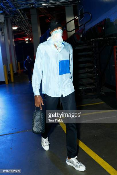 Paul George of the LA Clippers arrives before the game against the Houston Rockets on May 14, 2021 at the Toyota Center in Houston, Texas. NOTE TO...