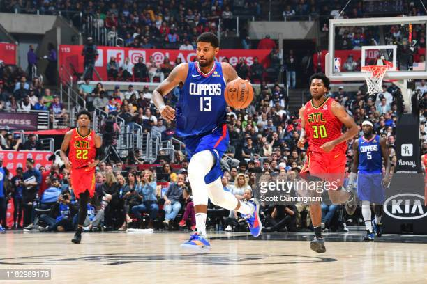 Paul George of the LA Clippers handles the ball against the Atlanta Hawks on November 16 2019 at State Farm Arena in Atlanta Georgia NOTE TO USER...