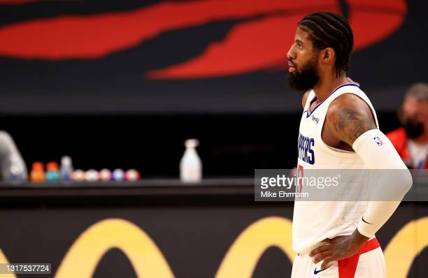Paul George of the LA Clippers looks on during a game against the Toronto Raptors at Amalie Arena on May 11, 2021 in Tampa, Florida. NOTE TO USER:...
