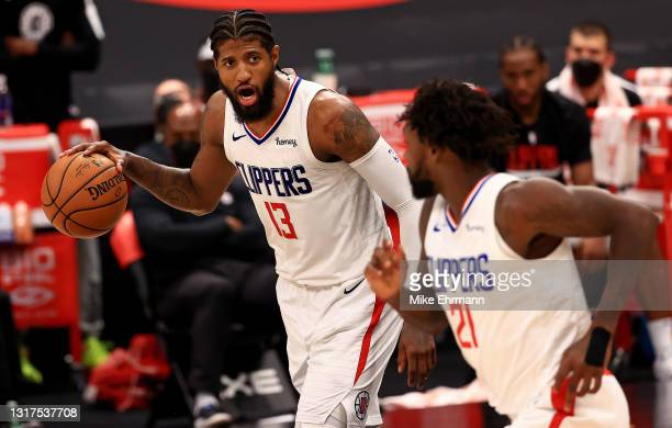 Paul George of the LA Clippers looks to pass during a game against the Toronto Raptors at Amalie Arena on May 11, 2021 in Tampa, Florida. NOTE TO...