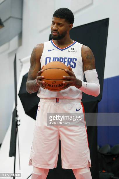Paul George of the LA Clippers pose for a photograph during the LA Clippers media day at Honey Training Center on September 29 2019 in Playa Vista...