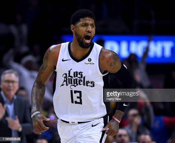 Paul George of the LA Clippers reacts to his three pointer during a 122-117 Houston Rockets win at Staples Center on December 19, 2019 in Los...