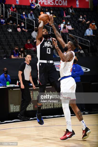 Paul George of the LA Clippers shoots the ball during the game against the New York Knicks on May 9, 2021 at STAPLES Center in Los Angeles,...