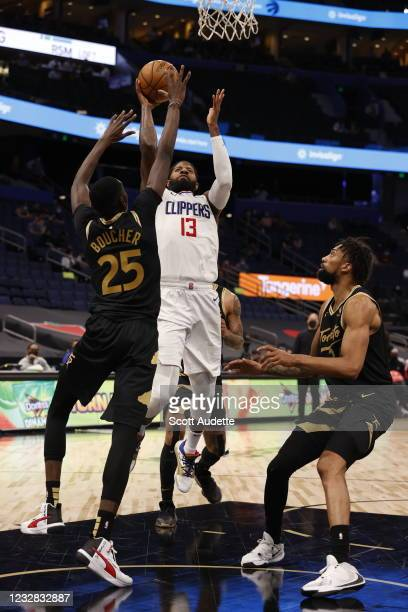 Paul George of the LA Clippers shoots the ball during the game against the Toronto Raptors on May 11, 2021 at Amalie Arena in Tampa, Florida. NOTE TO...