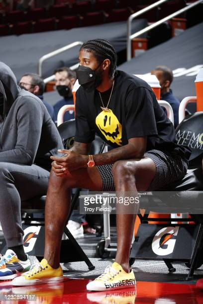 Paul George of the LA Clippers sits on the sidelines during the game against the Houston Rockets on May 14, 2021 at the Toyota Center in Houston,...