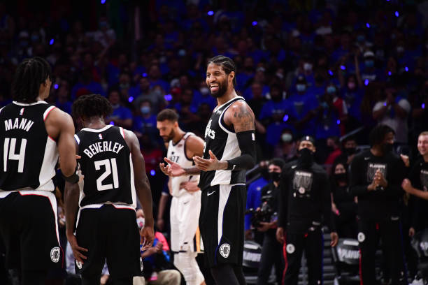 Paul George of the LA Clippers smiles during the game against the Utah Jazz during Round 2, Game 6 of the 2021 NBA Playoffs on June 18, 2021 at...