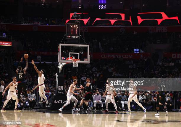 Paul George of the LA Clippers takes a shot against the Cleveland Cavaliers in the second quarter at Staples Center on October 27, 2021 in Los...