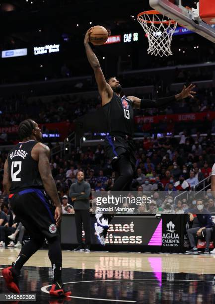 Paul George of the LA Clippers takes a shot against the Cleveland Cavaliers in the fourth quarter at Staples Center on October 27, 2021 in Los...