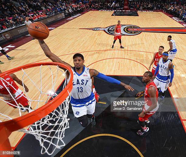 Paul George of the Eastern Conference AllStars goes up for the dunk during the NBA AllStar Game as part of the 2016 NBA All Star Weekend on February...