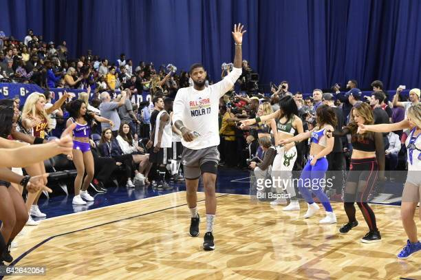 Paul George of the Eastern Conference is announced before the 2017 NBA AllStar Practice as a part of 2017 AllStar Weekend at the MercedesBenz...