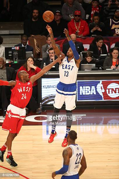 Paul George of the Eastern Conference shoots the ball against the Western Conference during the 2016 NBA AllStar Game on February 14 2016 at the Air...