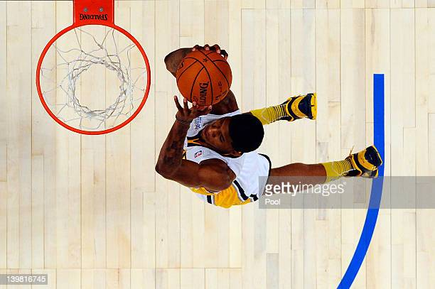 Paul George of the Indiana Pacers and Team Chuck dunks during the BBVA Rising Stars Challenge part of the 2012 NBA AllStar Weekend at Amway Center on...