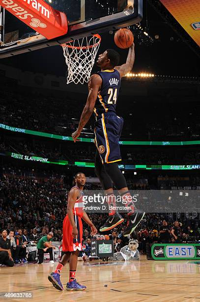 Paul George of the Indiana Pacers attempts a dunk during the Sprite Slam Dunk Contest on State Farm AllStar Saturday Night as part of the 2014...