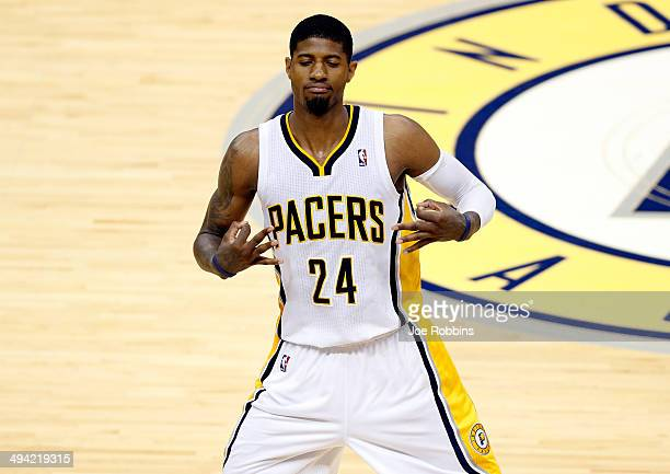 Paul George of the Indiana Pacers celebrates after hitting a shot against the Miami Heat during Game Five of the Eastern Conference Finals of the...