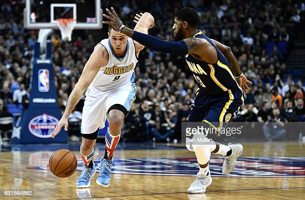Paul George of the Indiana Pacers closes down Danilo Gallinari of the Denver Nuggets during the NBA match between Indiana Pacers and Denver Nuggets...