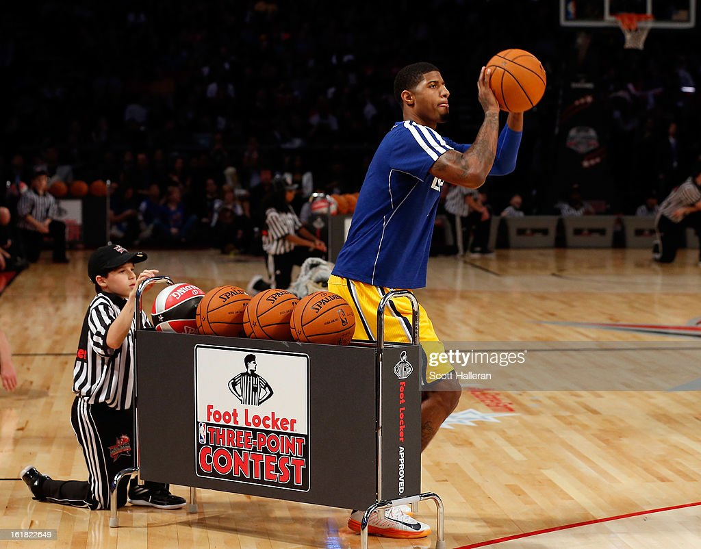 Paul George of the Indiana Pacers competes during the Foot Locker Three-Point Contest part of 2013 NBA All-Star Weekend at the Toyota Center on February 16, 2013 in Houston, Texas.