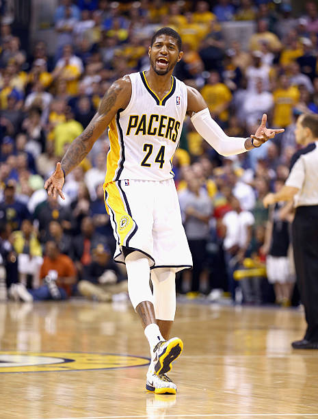 Paul George  24 of the Indiana Pacers disagrees with an officals call in  the game de6f5b822