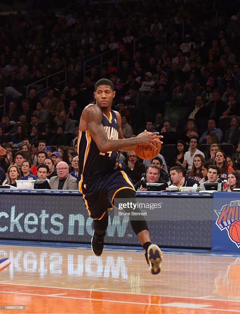Paul George #24 of the Indiana Pacers dribbles the ball against the New York Knicks at Madison Square Garden on November 18, 2012 in New York City.