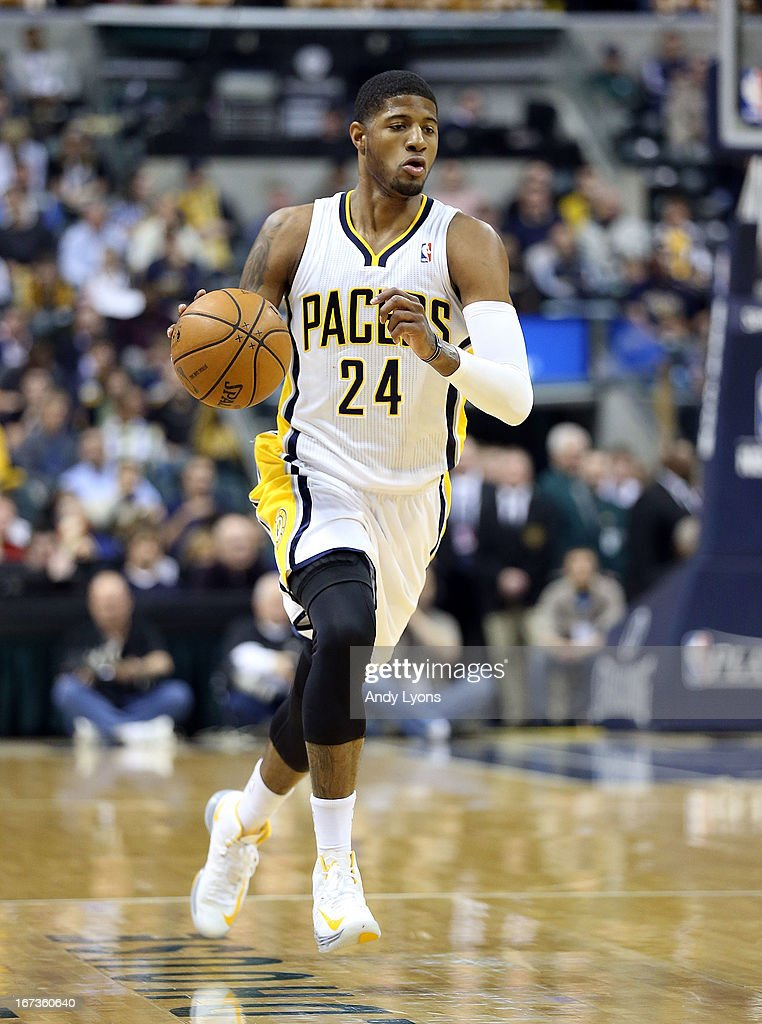 Paul George #24 of the Indiana Pacers dribbles the ball against the Atlanta Hawks during Game Two of the Eastern Conference Quarterfinals of the 2013 NBA Playoffs at Bankers Life Fieldhouse on April 24, 2013 in Indianapolis, Indiana.