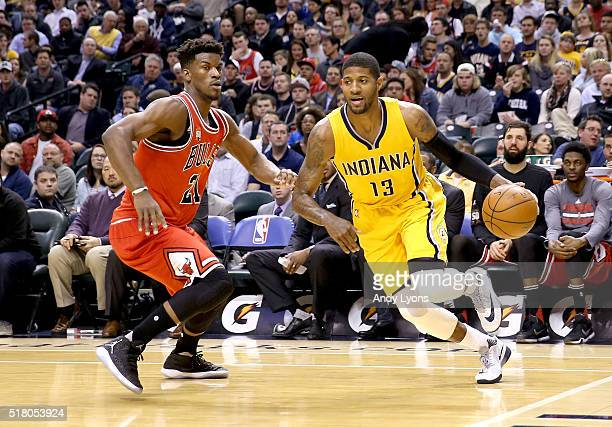 Paul George of the Indiana Pacers dribbles the ball during the game against the Chicago Bulls at Bankers Life Fieldhouse on March 29 2016 in...