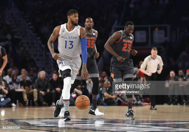 Paul George of the Indiana Pacers dribbles the ball in the first half of the 2017 NBA AllStar Game at Smoothie King Center on February 19 2017 in New...