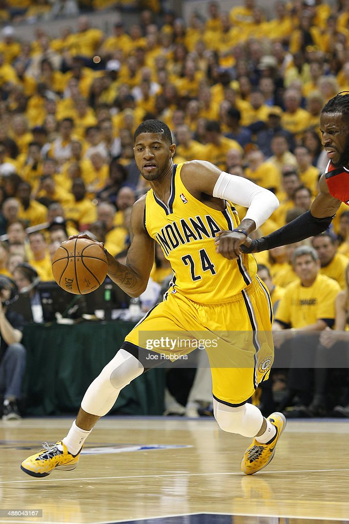 Paul George #24 of the Indiana Pacers drives to the basket against the Atlanta Hawks during Game Seven of the Eastern Conference Quarterfinals of the 2014 NBA Playoffs on May 3, 2014 at Bankers Life Fieldhouse in Indianapolis, Indiana.