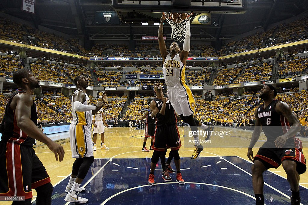 Paul George #24 of the Indiana Pacers dunks in the first half against the Miami Heat during Game Four of the Eastern Conference Finals of the 2013 NBA Playoffs at Bankers Life Fieldhouse on May 28, 2013 in Indianapolis, Indiana.