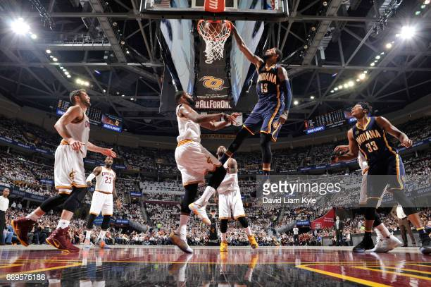 Paul George of the Indiana Pacers dunks the ball against the Cleveland Cavaliers during Game Two of the Eastern Conference Quarterfinals of the 2017...