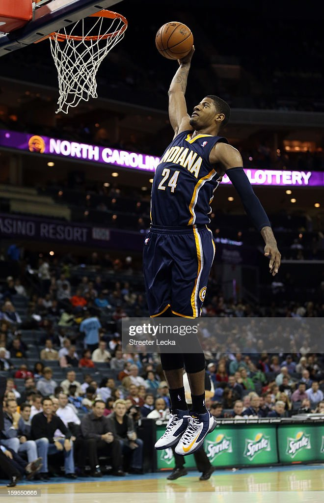Paul George #24 of the Indiana Pacers dunks the ball during their game against the Charlotte Bobcats at Time Warner Cable Arena on January 15, 2013 in Charlotte, North Carolina.