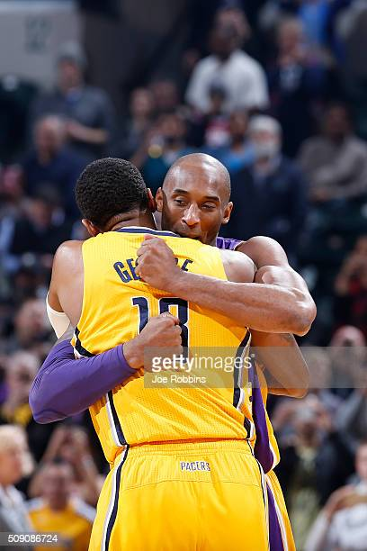 Paul George of the Indiana Pacers gets a hug from Kobe Bryant of the Los Angeles Lakers before the game at Bankers Life Fieldhouse on February 8,...