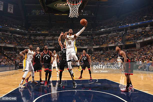 Paul George of the Indiana Pacers goes for the layup against the Toronto Raptors during Game Four of the Eastern Conference Quarterfinals during the...