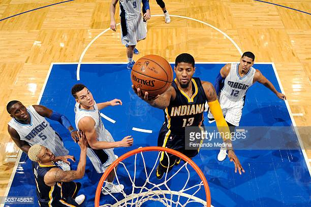 Paul George of the Indiana Pacers goes for the layup during the game against the Orlando Magic on January 6 2016 at Amway Center in Orlando Florida...