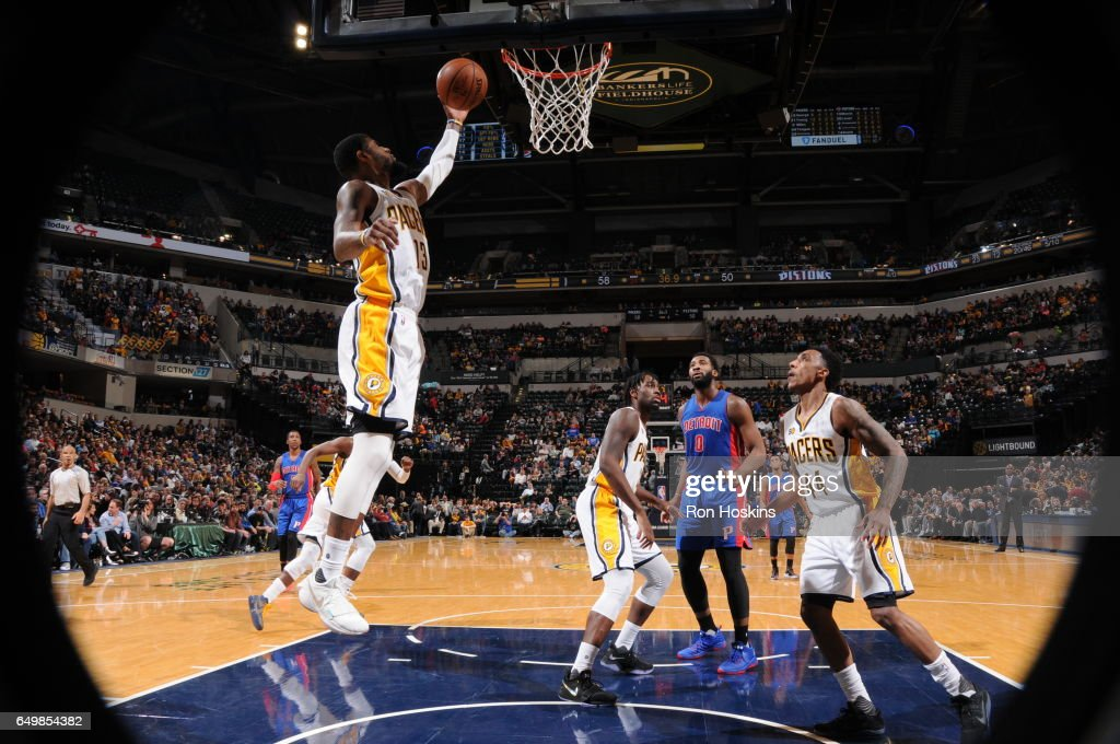 Paul George #13 of the Indiana Pacers grabs the rebound against the Detroit Pistons on March 8, 2017 at Bankers Life Fieldhouse in Indianapolis, Indiana.