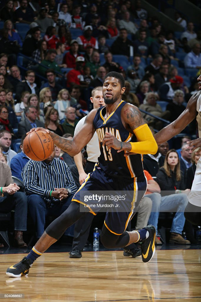 52ffbaacf0c Paul George of the Indiana Pacers handles the ball against the New ...