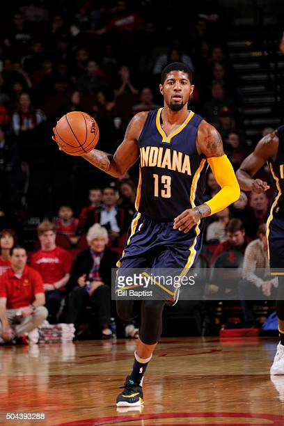Paul George of the Indiana Pacers handles the ball against the Houston Rockets on January 10 2016 at the Toyota Center in Houston Texas NOTE TO USER...