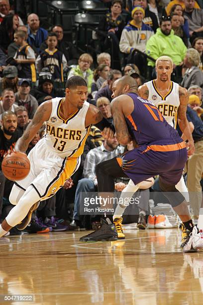 Paul George of the Indiana Pacers handles the ball against the Phoenix Suns on January 12 2016 at Bankers Life Fieldhouse in Indianapolis Indiana...