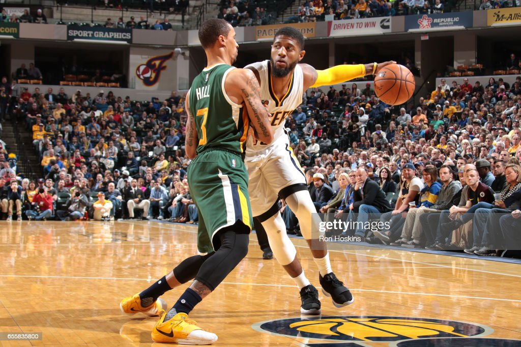 Paul George #13 of the Indiana Pacers handles the ball against the Utah Jazz on March 20, 2017 at Bankers Life Fieldhouse in Indianapolis, Indiana.