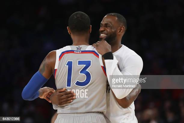 Paul George of the Indiana Pacers hugs LeBron James of the Cleveland Cavaliers during the 2017 NBA AllStar Game at Smoothie King Center on February...
