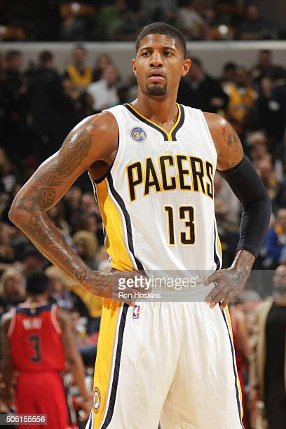 Paul George of the Indiana Pacers is seen during the game against the Washington Wizardson January 15 2016 at Bankers Life Fieldhouse in Indianapolis...