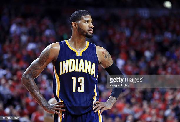 Paul George of the Indiana Pacers looks on late in the second half of Game Seven of the Eastern Conference Quarterfinals against the Toronto Raptors...