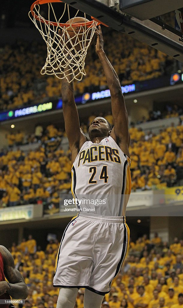 Paul George #24 of the Indiana Pacers puts up a shot against the Miami Heat in Game Three of the Eastern Conference Semifinals in the 2012 NBA Playoffs at Bankers Life Fieldhouse on May 17, 2012 in Indianapolis, Indiana. The Pacers defeated the Heat 94-75.