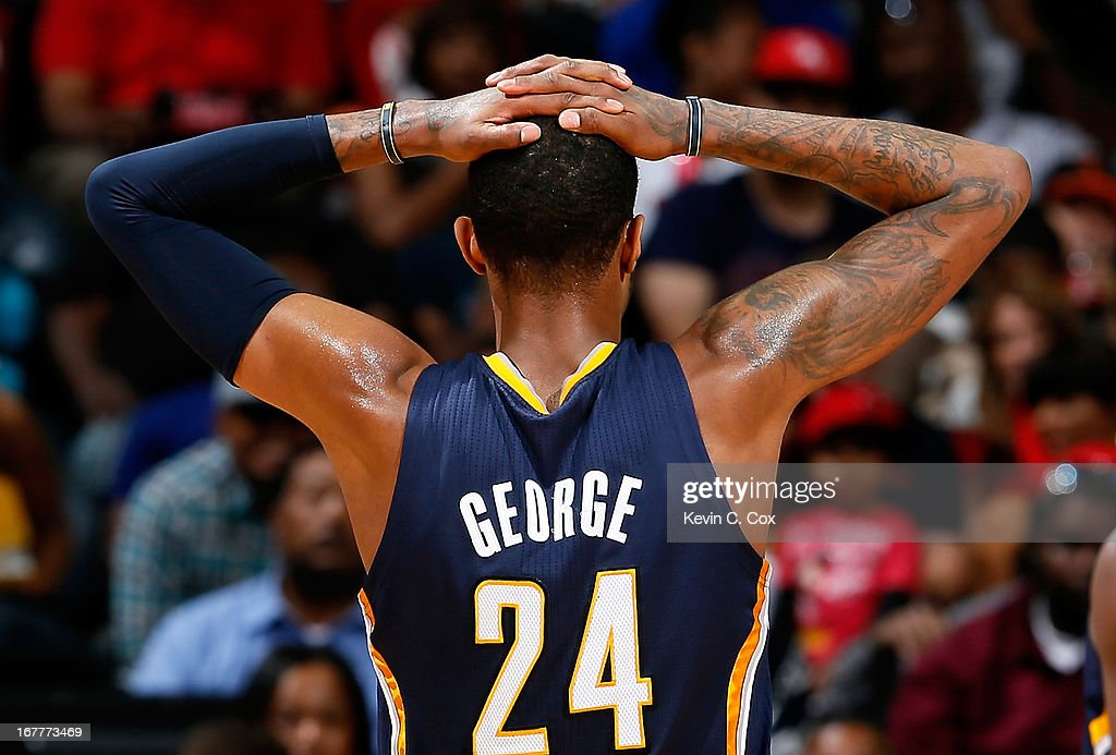 Paul George #24 of the Indiana Pacers reacts after a Pacers foul against the Atlanta Hawks during Game Four of the Eastern Conference Quarterfinals of the 2013 NBA Playoffs at Philips Arena on April 29, 2013 in Atlanta, Georgia.