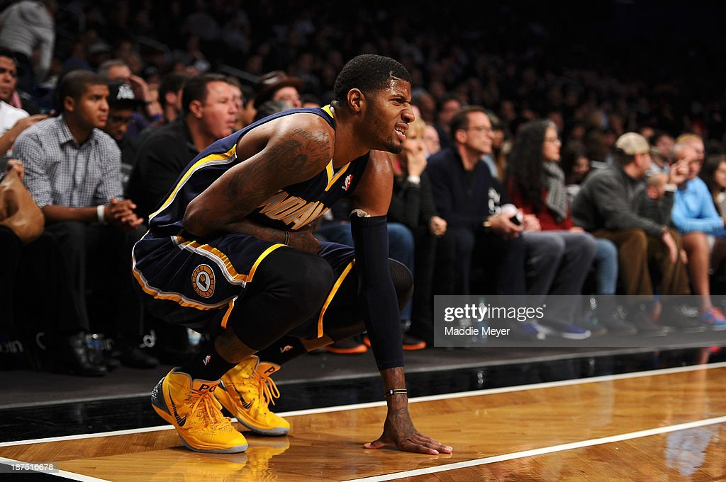 Paul George #24 of the Indiana Pacers reacts after a play during the game against the Brooklyn Nets at Barclays Center on November 9, 2013 in the Brooklyn borough of New York City. The Pacers defeat the Nets 96-91.