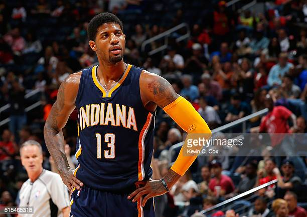 Paul George of the Indiana Pacers reacts during a timeout against the Atlanta Hawks at Philips Arena on March 13 2016 in Atlanta Georgia NOTE TO USER...