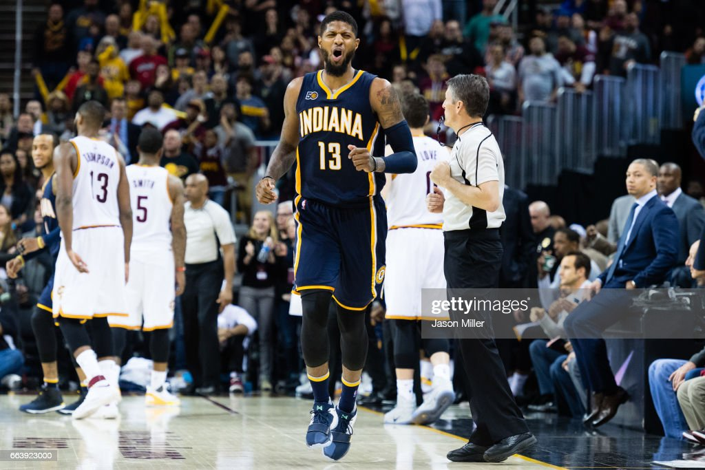 Paul George #13 of the Indiana Pacers reacts during the final seconds of the first overtime period against the Cleveland Cavaliers at Quicken Loans Arena on April 2, 2017 in Cleveland, Ohio. The Cavaliers defeated the Pacers 135-130 in double overtime.